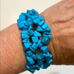Turquoise Nuggets Stretch Bracelet OSFM NWOT